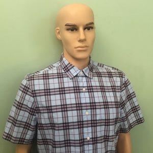 Burberry Blue/Mauve plaid short sleeve shirt Sz/XL